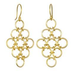 Faye Kim 18k Gold Handmade Mesh Drop Earrings