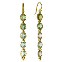 Handmade Blue Green Beryl Gold Chandelier Earrings