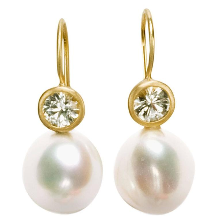 Freshwater Pearl White Sapphire Gold Earrings