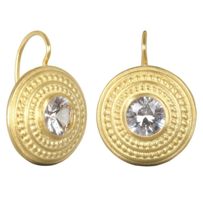 Faye Kim White Shire Gold Disc Earrings For