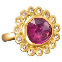 Faye Kim Pink Sapphire Diamond Gold Daisy Ring