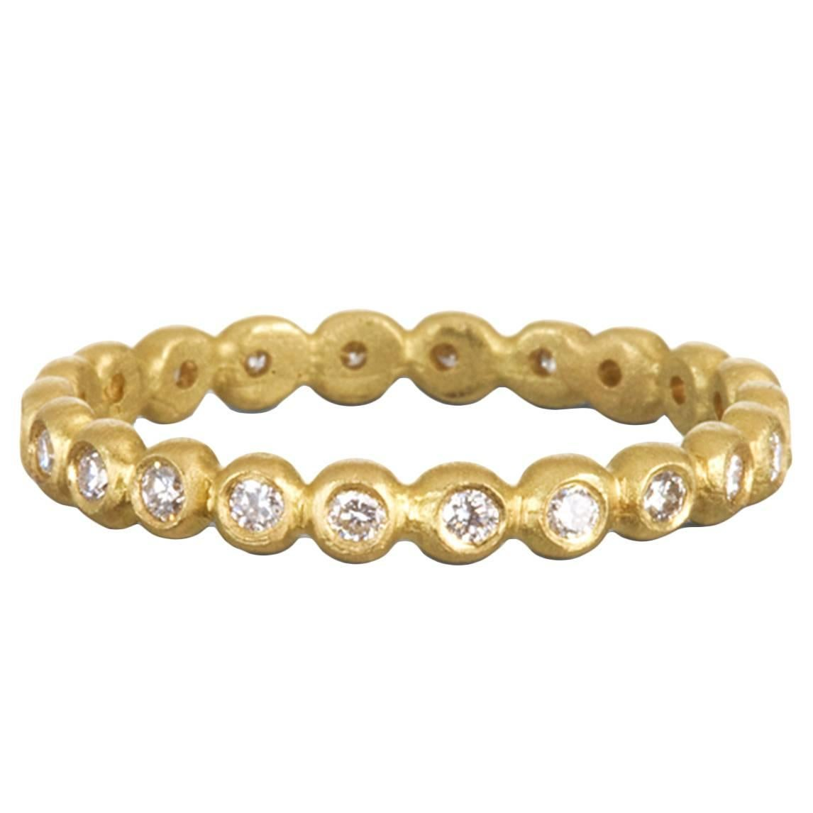 Faye Kim Diamond 18 Karat Gold Granulation Eternity Band Ring
