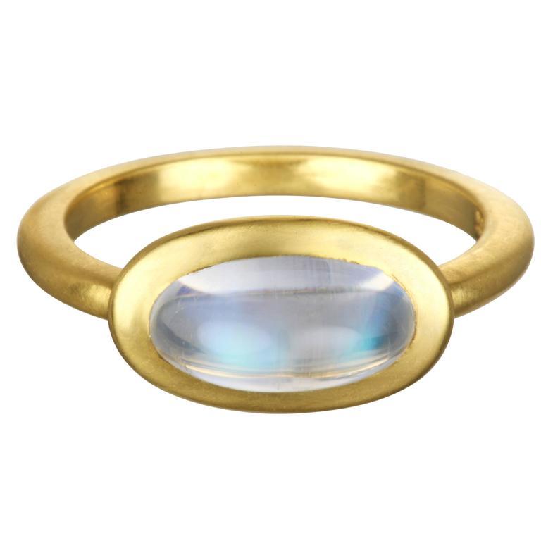 Faye Kim Modern African Moonstone Cabochon 18 Karat Gold Ring
