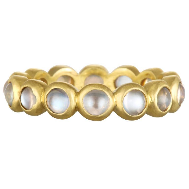 Faye Kim Burma Moonstone 18 Karat Gold Eternity Ring 1