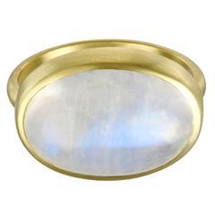 Faye Kim Modern Oval Rainbow Moonstone Cabochon Gold Bezel Ring
