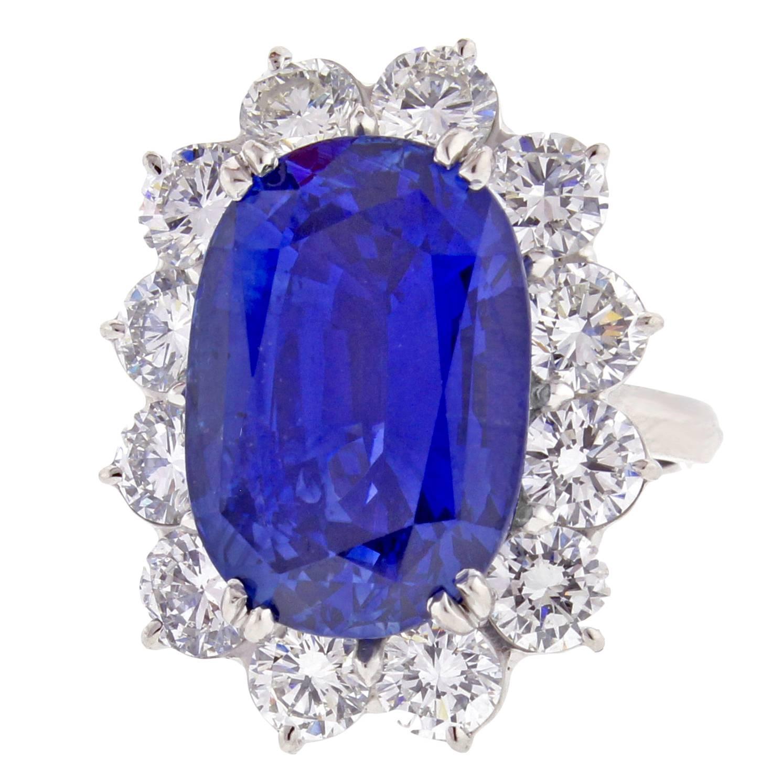 Important 17 Carat GIA Certified Ceylon Sapphire Diamond Ring