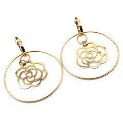 Chanel Camelia Large Gold Flower Hoop Earrings