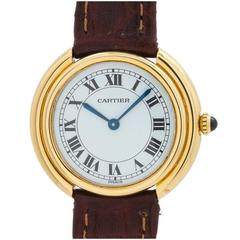 Cartier Yellow Gold Vendome Tank Wristwatch