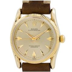 """Rolex Yellow Gold """"Bombe"""" Oyster Perpetual Wristwatch Ref 6292 1956"""