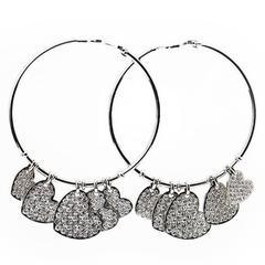 "Christian Dior ""Coeur Léger"" Diamond Gold Hoop Earrings"