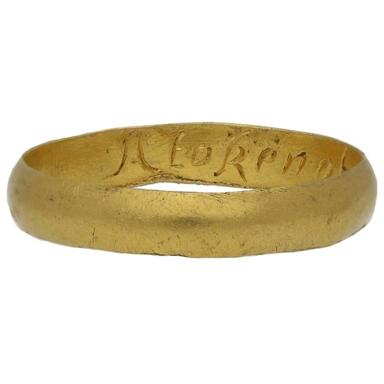 "1700s ""A token of my love"" Gold Posy Ring  For Sale"