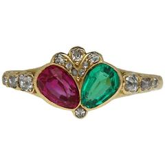Victorian Antique Emerald Ruby Diamond Gold Ring