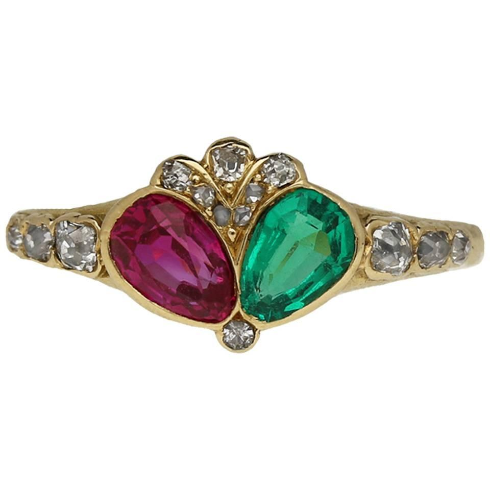 Victorian Antique Emerald Ruby Diamond Gold Ring For Sale