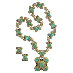 Cazzaniga Ruby Sapphire Emerald Gold Sautoir Necklace