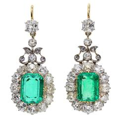 Antique Emerald Diamond Gold Drop Earrings