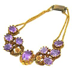 Victorian 10 Carats Vivid Violet Purple Amethysts Gold Bracelet