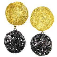 Silver Gold Platinum Textured Drop Clip Moneta Earrings by Alex Soldier Ltd Ed