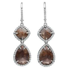 Cognac Diamond Gold Earrings