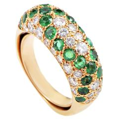 Boucheron Emerald Diamond Gold Paved Band Ring