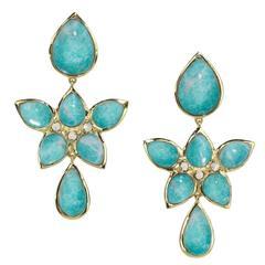 Elizabeth Showers Pearl Gold Mariposa Drop Earrings