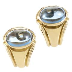 Bulgari Aquamarine Gold Clip-on Earrings