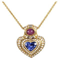 Bulgari Precious Gemstone Gold Heart Pendant Necklace