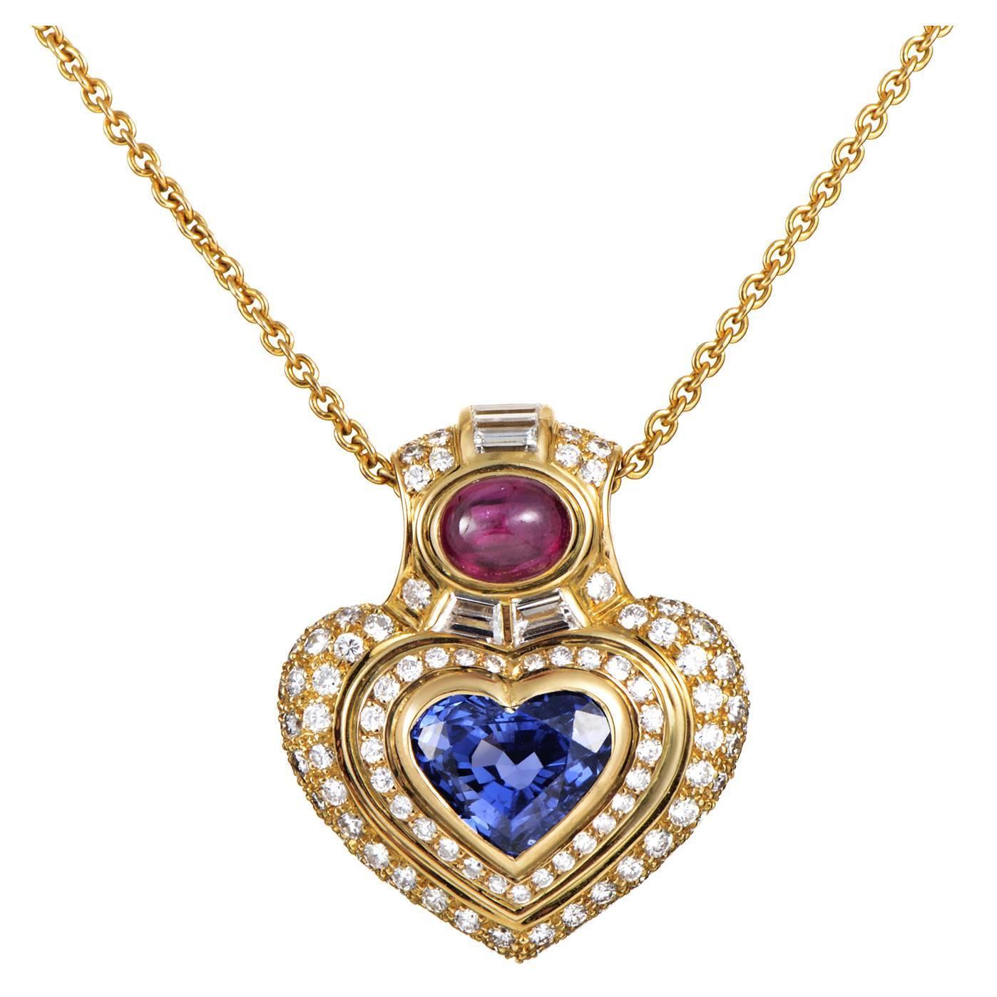 bulgari precious gemstone gold pendant necklace at