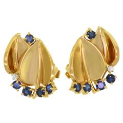 1950s Cartier Retro Sapphire, Diamond, and Gold Earrings