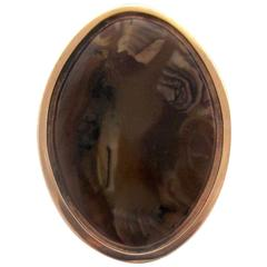 Antique Agate Gold Navette Ring