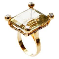 Large 52 Carat Lemon Quartz Diamond Gold Ring
