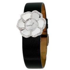 Chanel Ladies White Gold Diamond Camelia Wristwatch