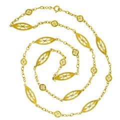 28-inch Antique French Filigree Gold Necklace