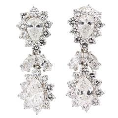 1960s Diamond Platinum Pear Shape Drop Earrings