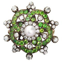 Pearl Demantoid Diamond Gold Brooch Flower Pendant