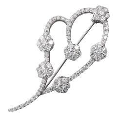 Diamond Florets Gold Heart Swish Brooch