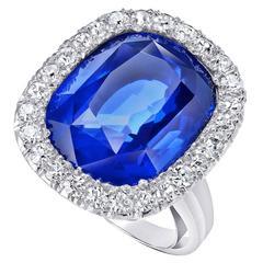 15.02 Carat GIA Cert Unheated Burmese Sapphire Gold Ring