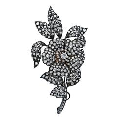 Diamond Silver Gold Floral Brooch