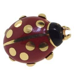 1990s Cartier Enamel Gold Ladybug Pin Brooch
