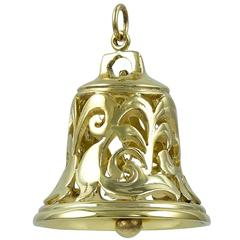 Gold Reticulated Bell Charm