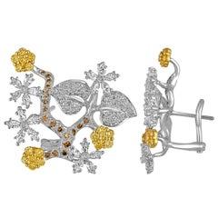 2.50 Carats Diamond Gold Flower Branch Earrings
