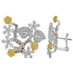 2.50 Carats Diamond Gold Flower Branch Earrings