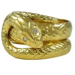 Great Diamond Gold Wrap-Around Snake Ring