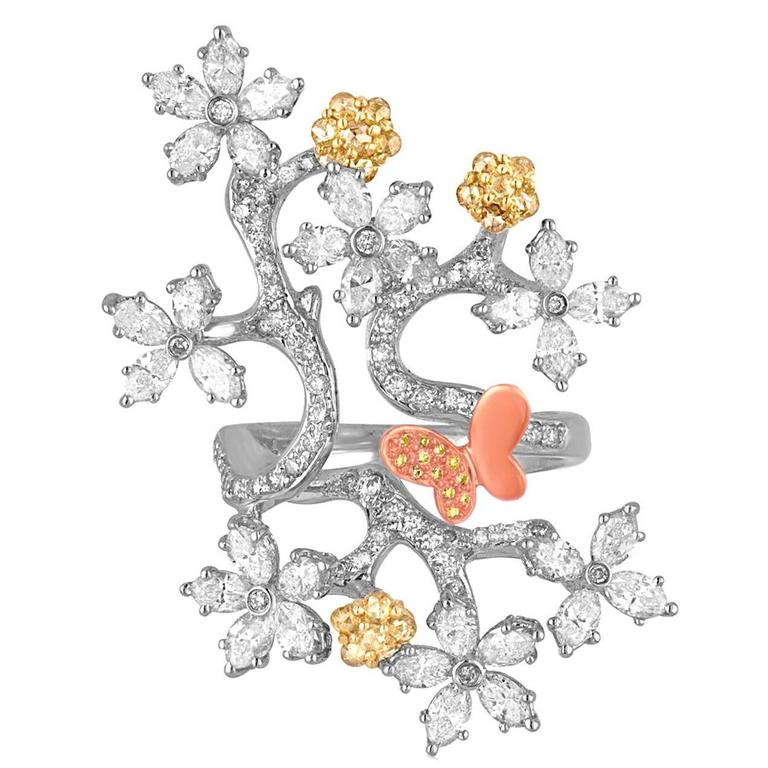 2.50 Carats Diamond Gold Flower Branch Ring