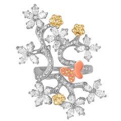 2.50 Carats Diamond Gold Flower Branch Ring