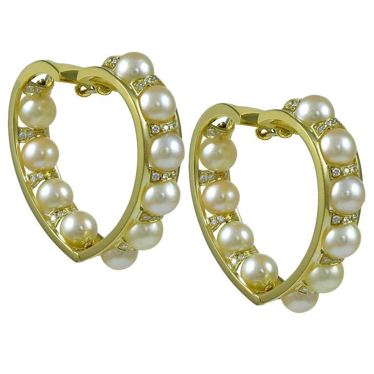 Fabulous Pearl Diamond Gold Heart Hoop Earrings