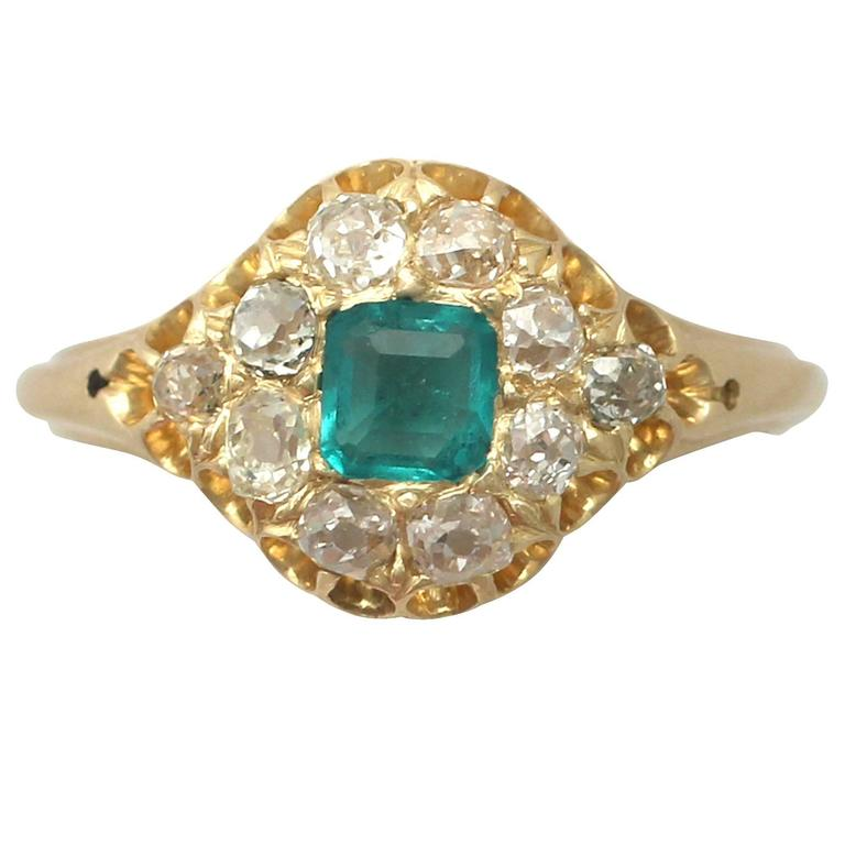 1865 Antique Emerald and Diamond Yellow Gold Cocktail Ring
