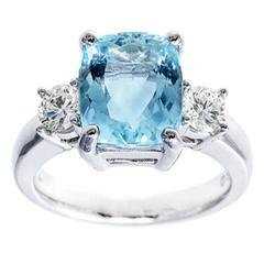 Bright Blue Aqua Diamond Gold Three-Stone Engagement Ring