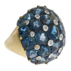 Blue Topaz Gold Dome Ring