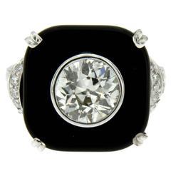 Art Deco Onyx 1.77 Carat Diamond Gold Ring