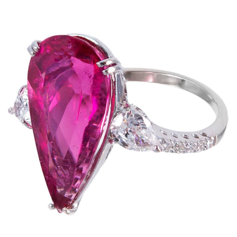 Pear Rubelite Pink Tourmaline Diamond Gold Ring